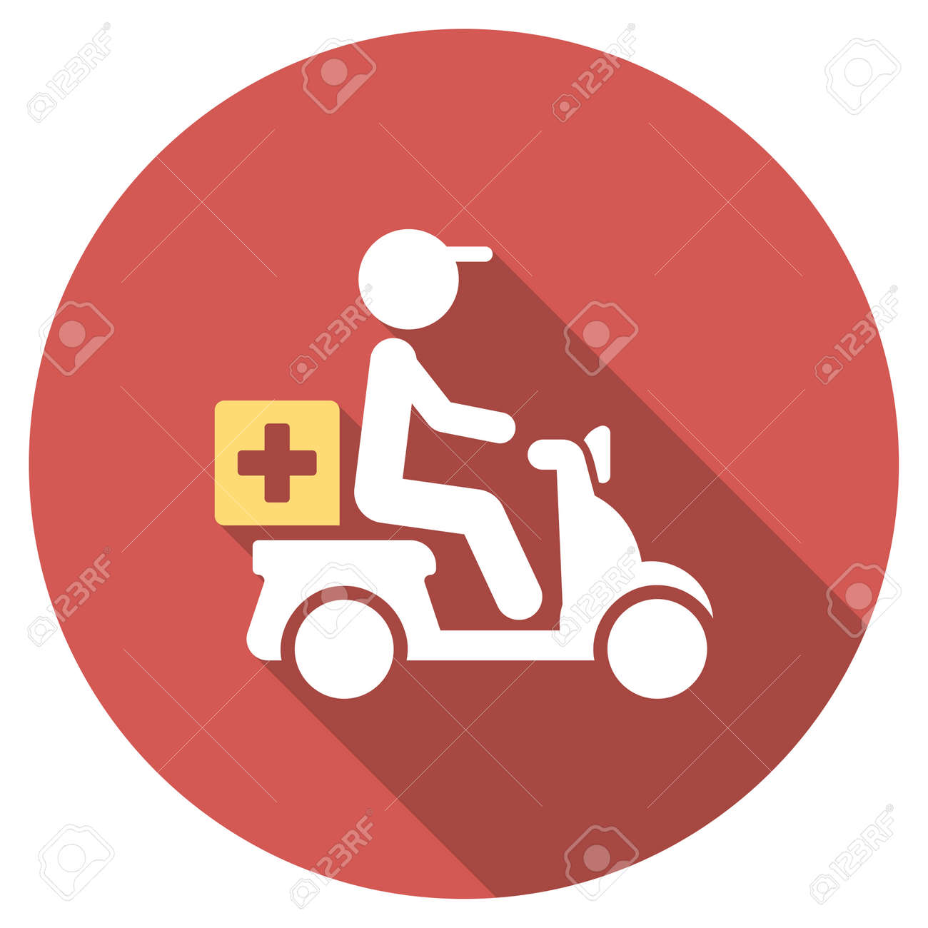 Drugs Motorbike Delivery long shadow icon. Style is a light flat symbol on a red round button. - 51735373