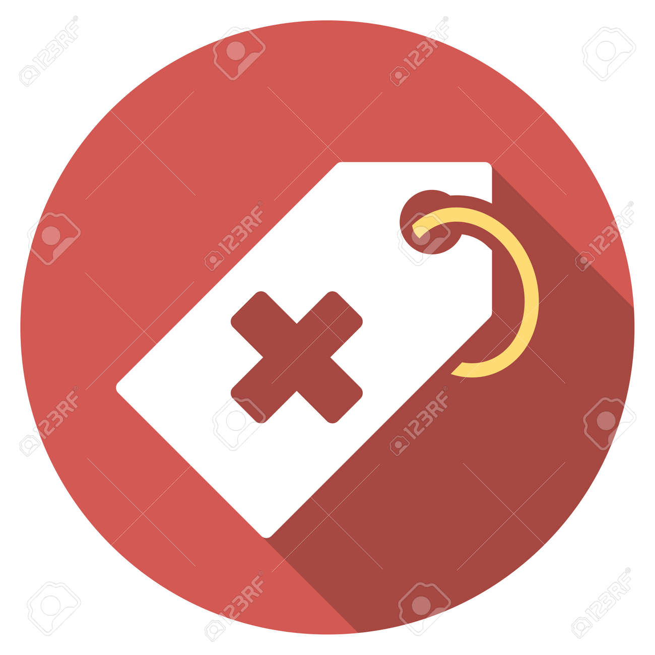 Hospital Tag Long Shadow Icon Style Is A Light Flat Symbol On