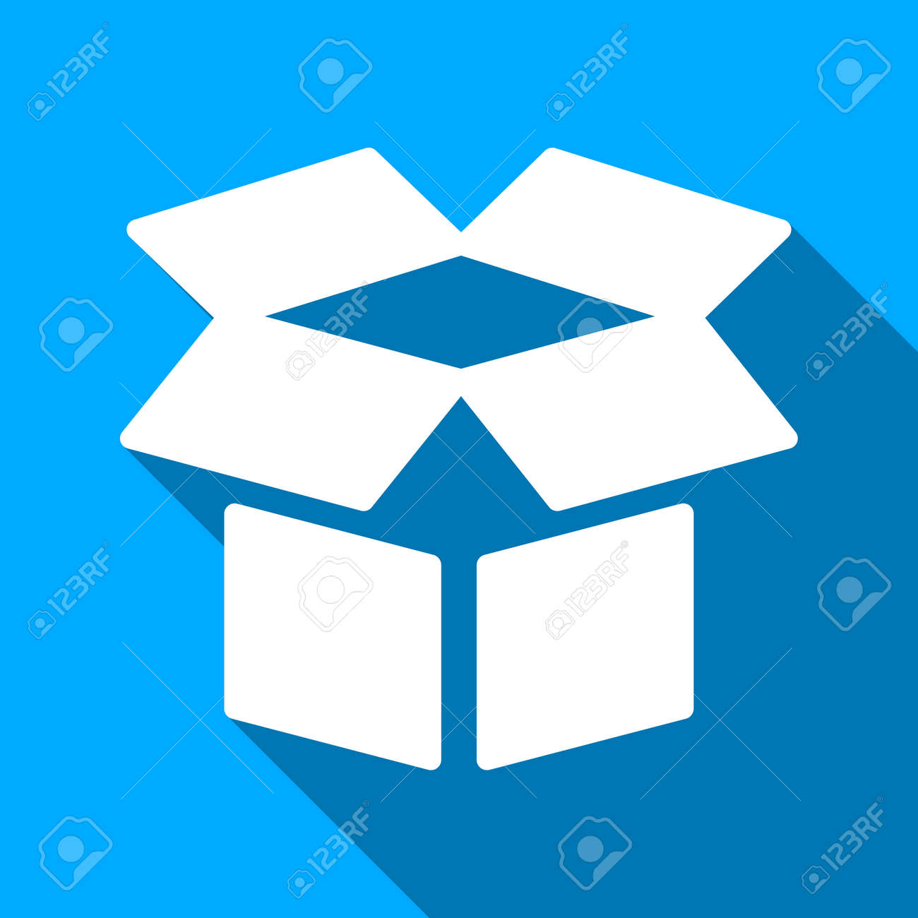 Open Box Long Shadow Vector Icon Style Is A Flat Light Symbol