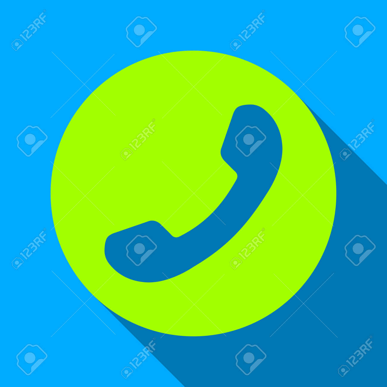Phone Number Long Shadow Vector Icon Style Is A Flat Light Symbol