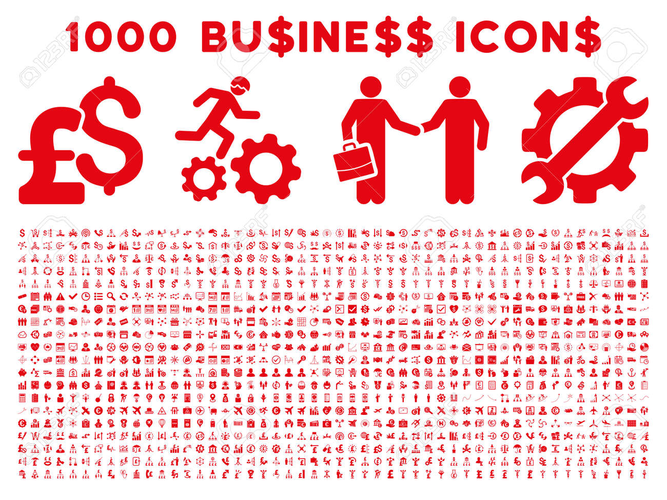 1000 Business vector icons. Pictogram style is red flat icons on a white background. Pound and dollar currency icons are used - 53699756