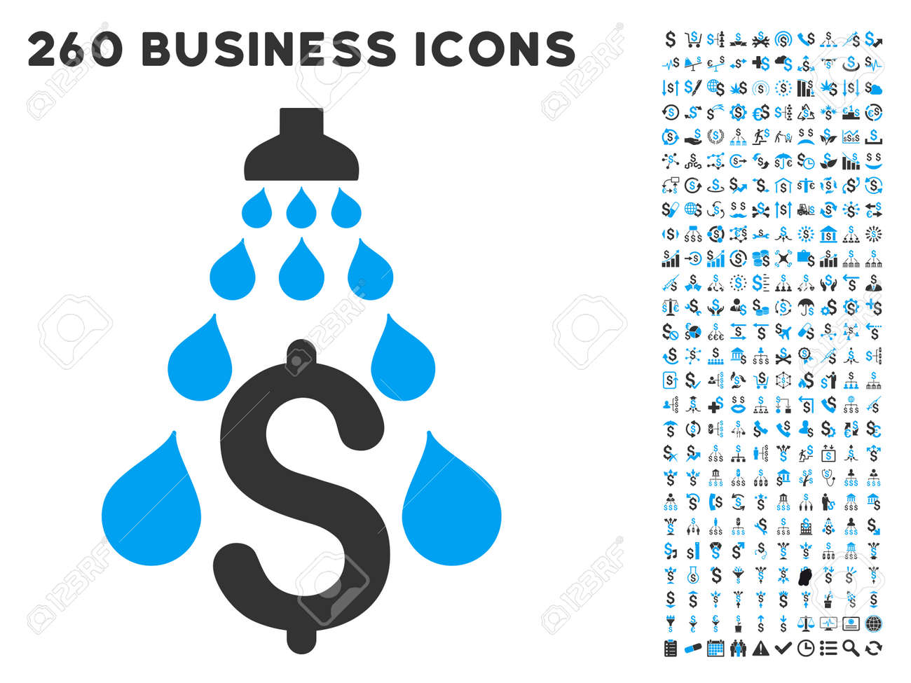 Money Laundering icon within 260 vector business pictogram set. Style is bicolor flat symbols, light blue and gray colors, white background. - 53700092