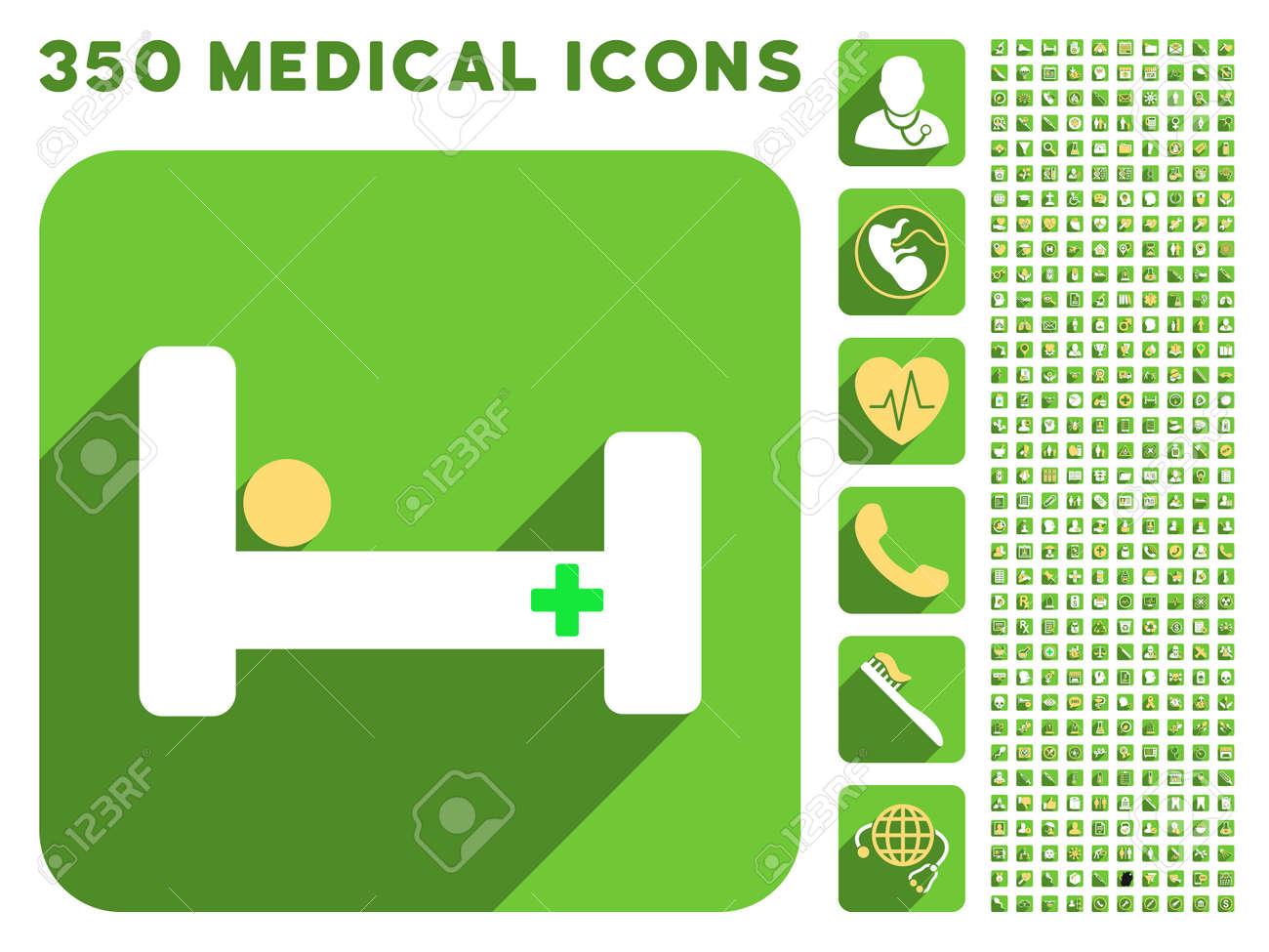 Krankenhaus Bett Symbol Und 350 Vektor Medizinische Icons Sammlung