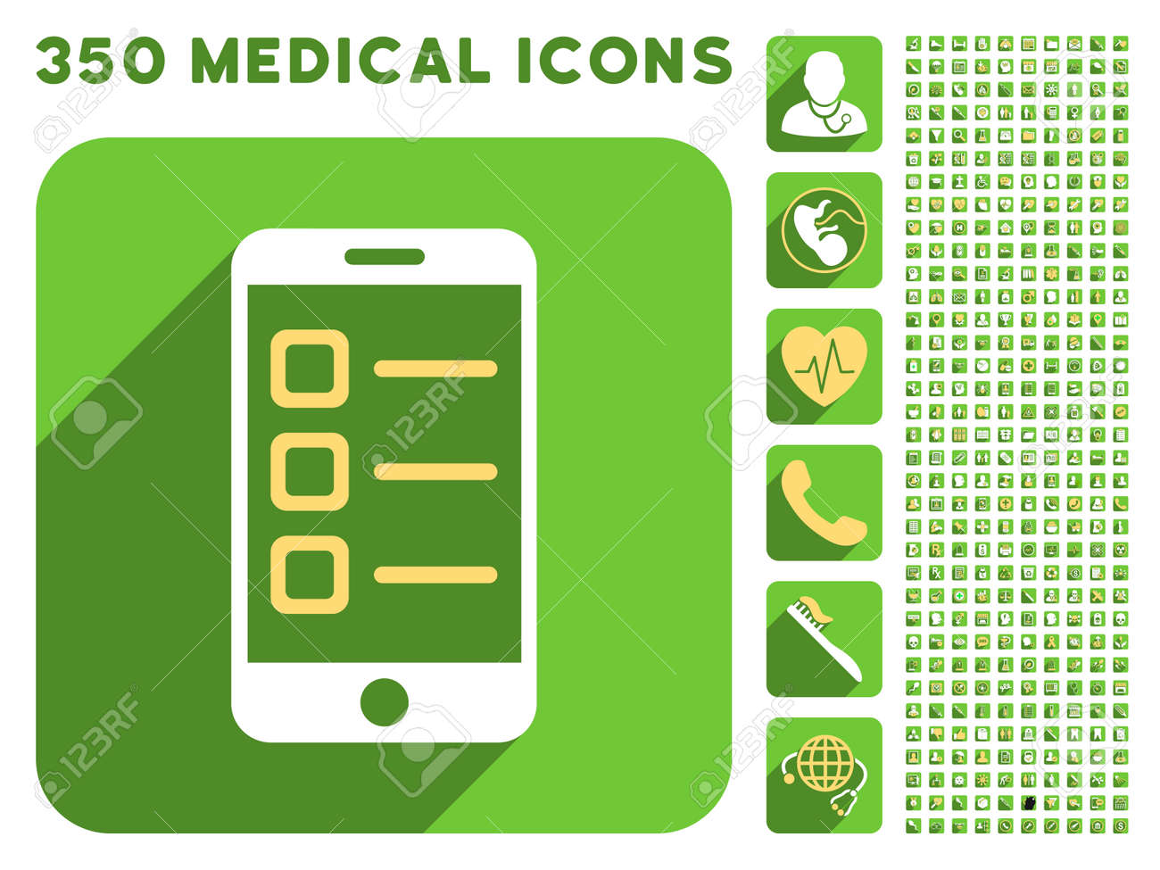 Mobile List Icon And 350 Vector Medical Icons Collection Style