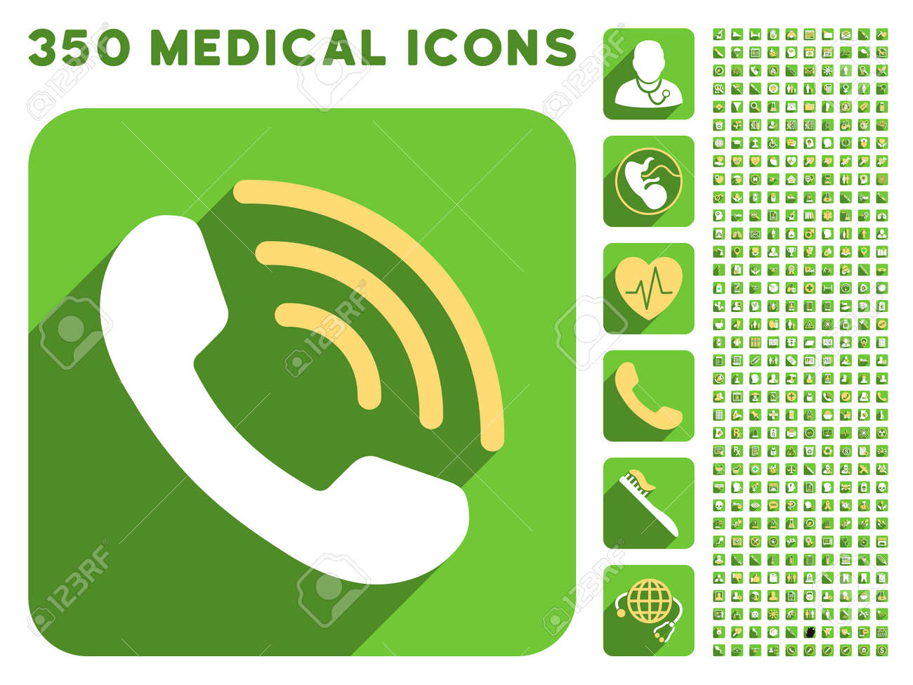 Phone Call Icon And 350 Vector Medical Icons Collection Style