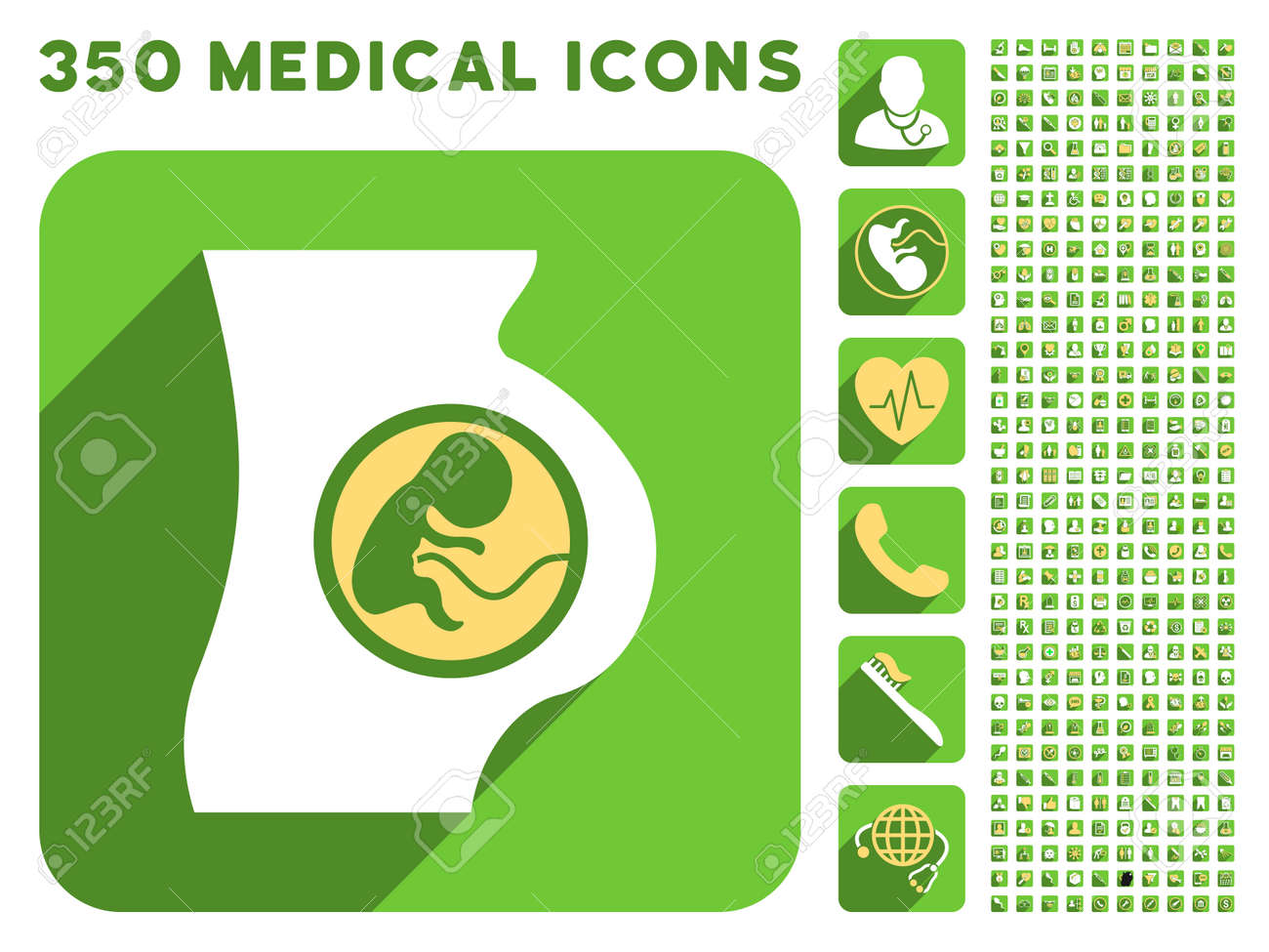 Pregnant Woman Anatomy Icon And 350 Vector Medical Icons Collection