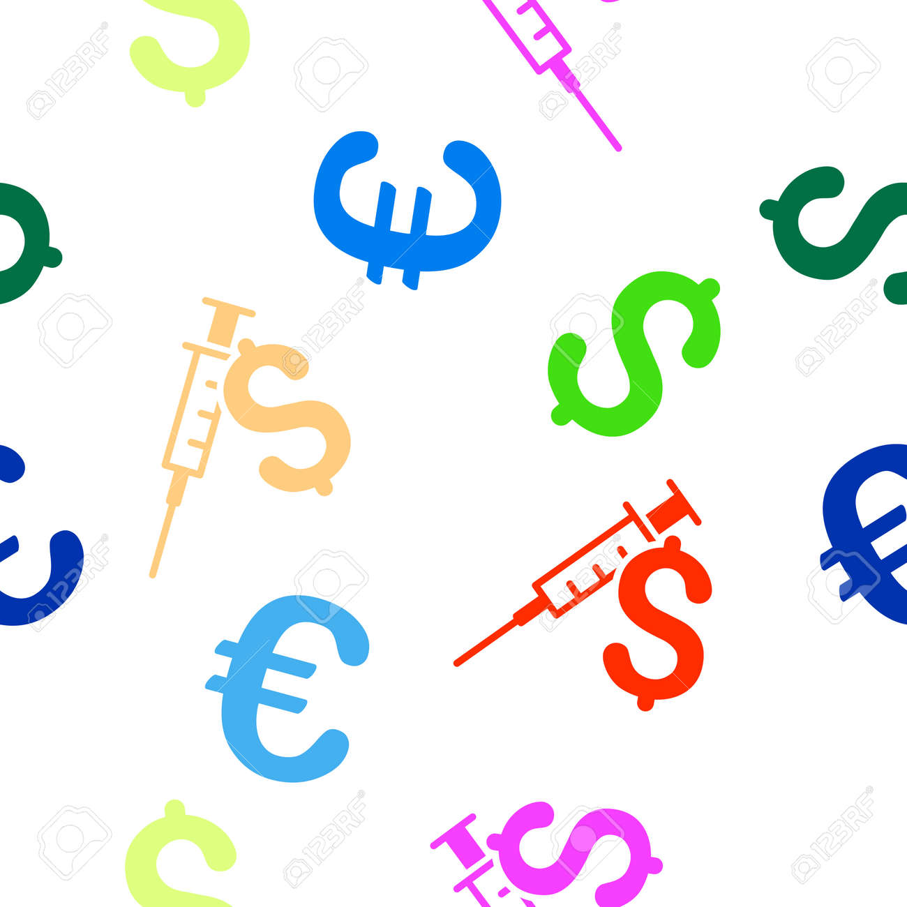 Drug Business Glyph Repeatable Pattern With Dollar And Euro Currency
