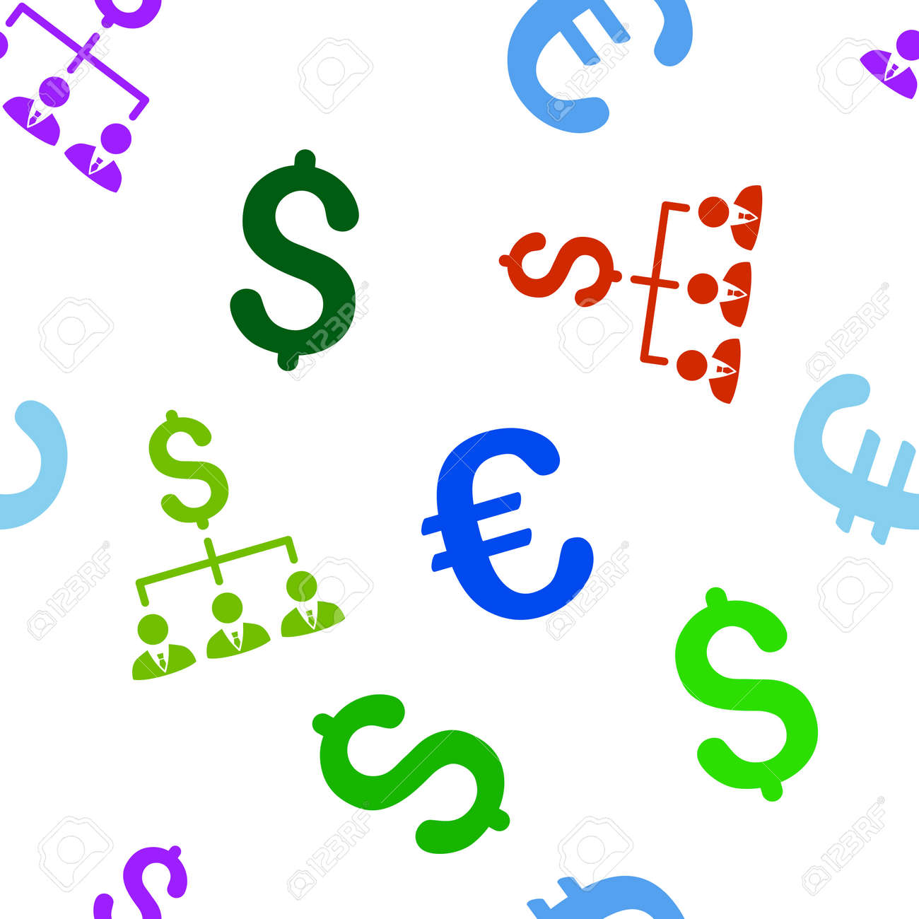 Banker Links Vector Repeatable Pattern With Dollar And Euro Currency