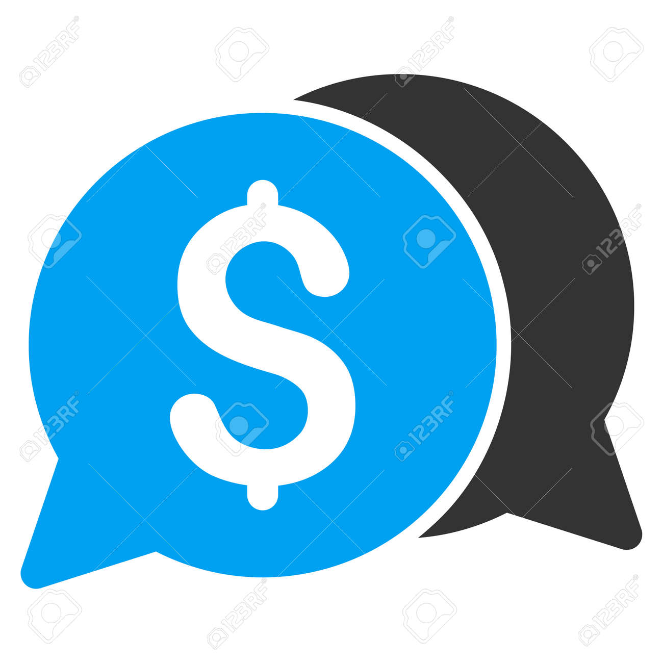 Money Messages icon. Glyph style is bicolor flat iconic symbol with rounded angles, blue and gray colors, white background. - 61141594