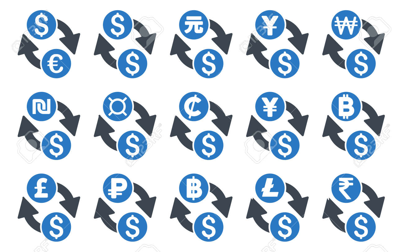 All currency exchange glyph icons icon style is bicolor smooth all currency exchange glyph icons icon style is bicolor smooth blue flat symbols with rounded biocorpaavc Images