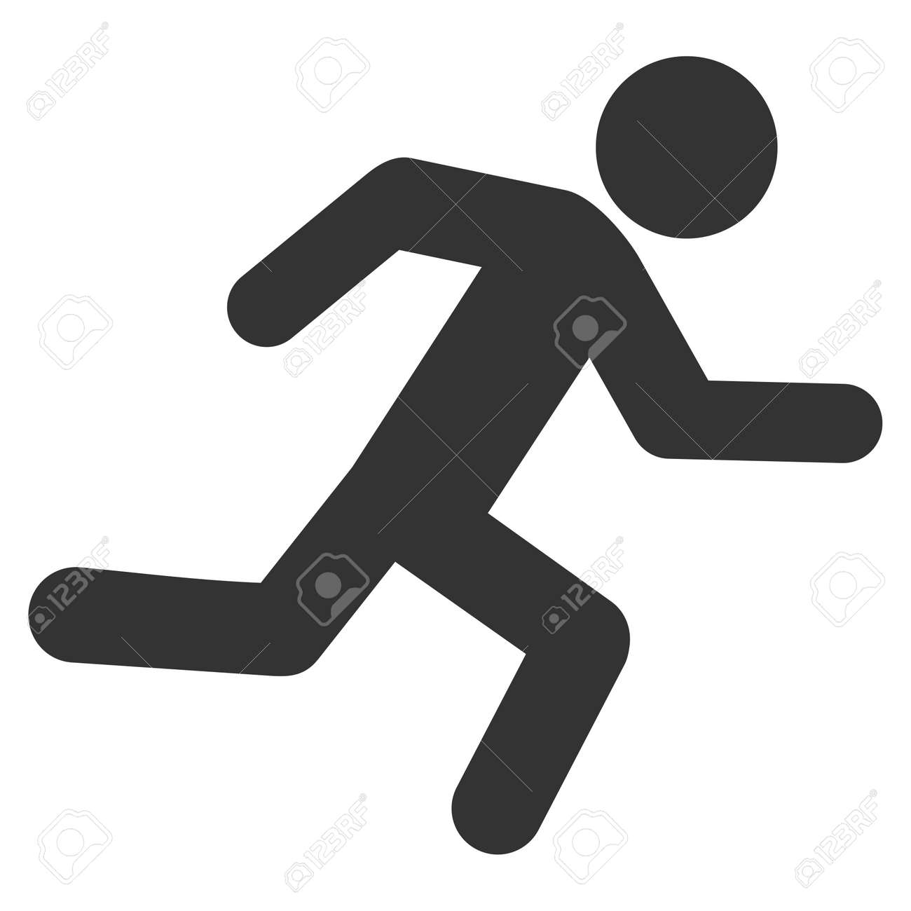 Running Man icon. Vector style is flat iconic symbol with rounded angles, gray color, white background. - 61470166