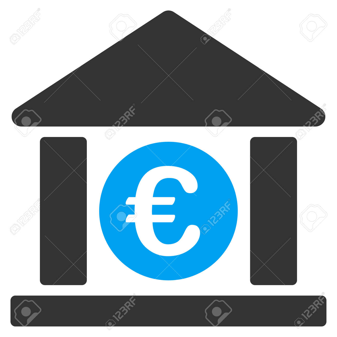 Euro bank building icon vector style is bicolor flat iconic euro bank building icon vector style is bicolor flat iconic symbol blue and gray biocorpaavc Image collections