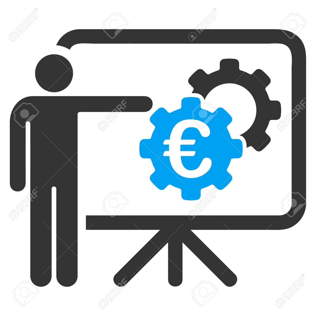 Euro Industrielle Projektpräsentation Symbol. Vector Stil Ist ...