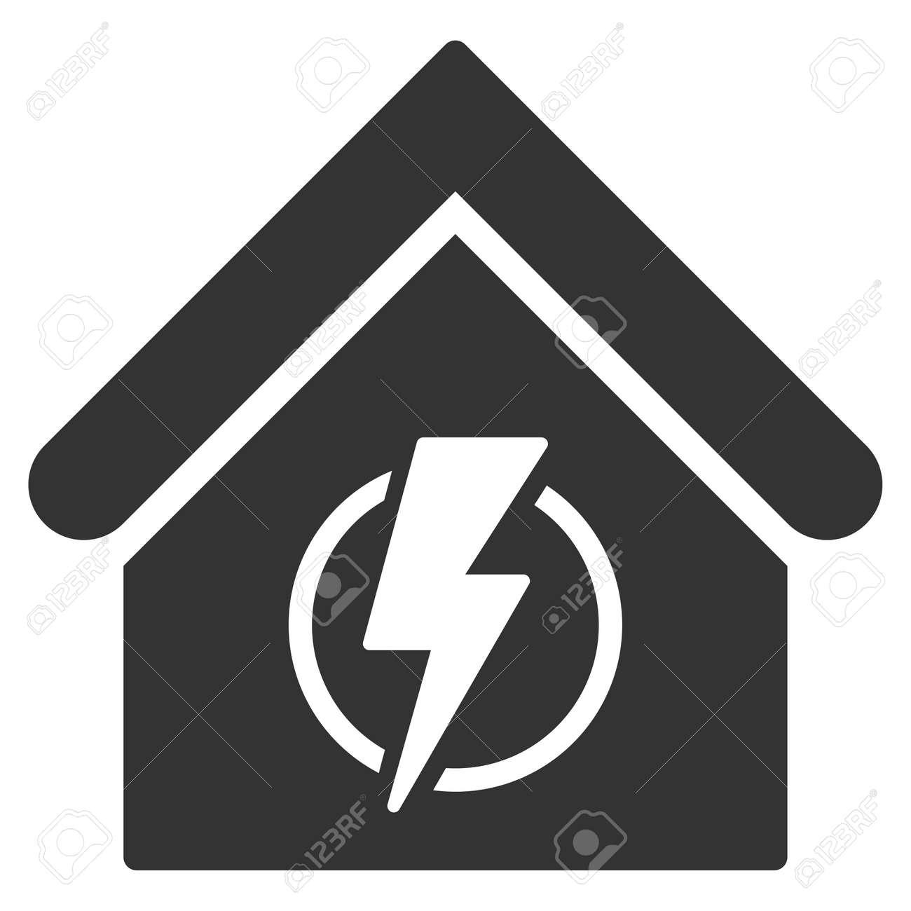 Stromversorgung Von Gebäuden Symbol. Vector Stil Ist Flach Ikonische ...