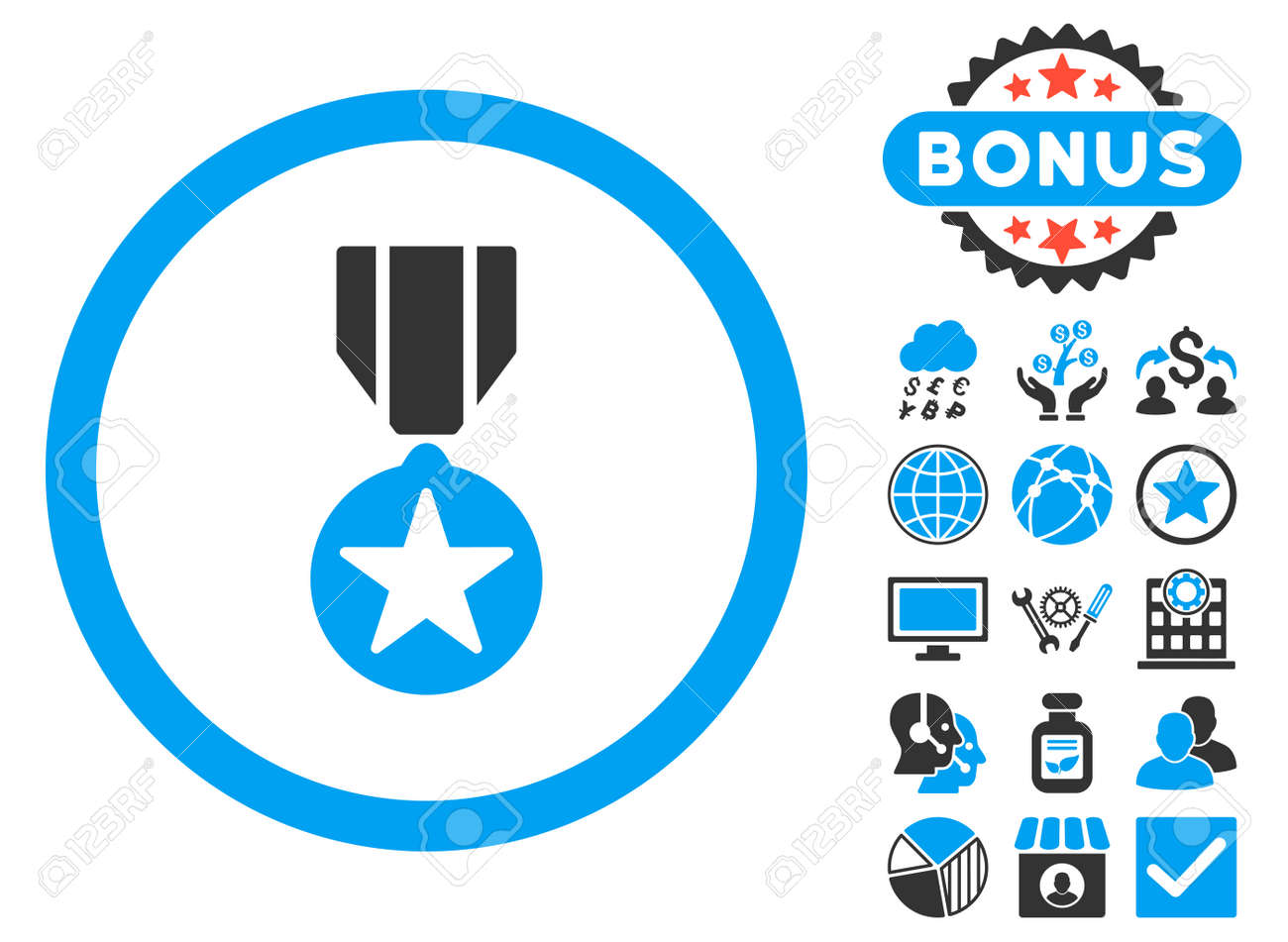 Army Award icon with bonus symbols  Vector illustration style