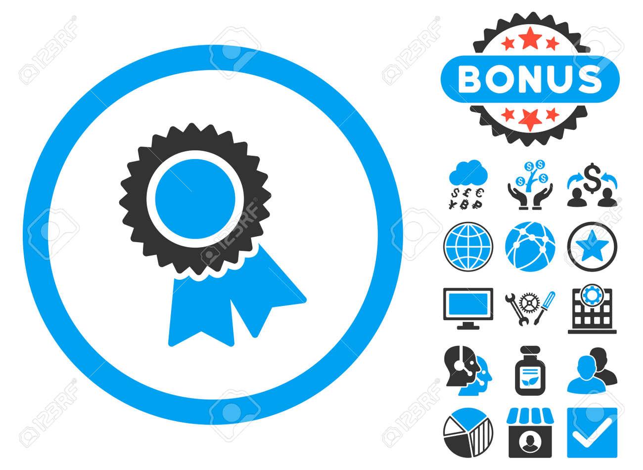 Certification Icon With Bonus Symbols Vector Illustration Style