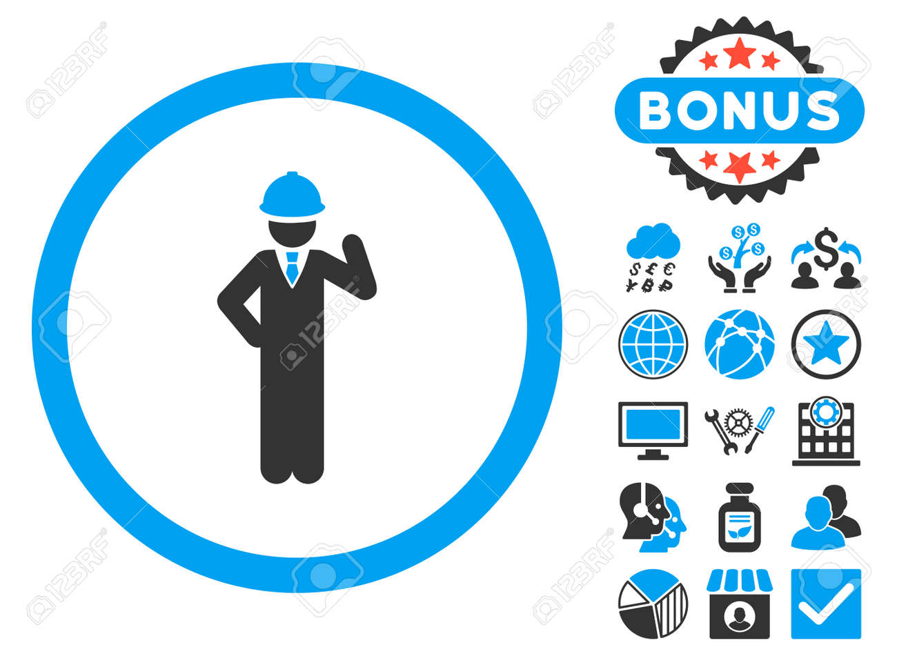 Engineer Icon With Bonus Pictures Vector Illustration Style