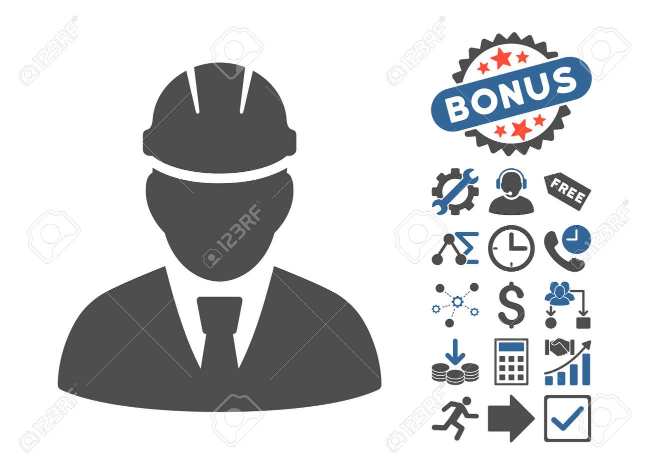 Engineer Icon With Bonus Symbols Vector Illustration Style Is