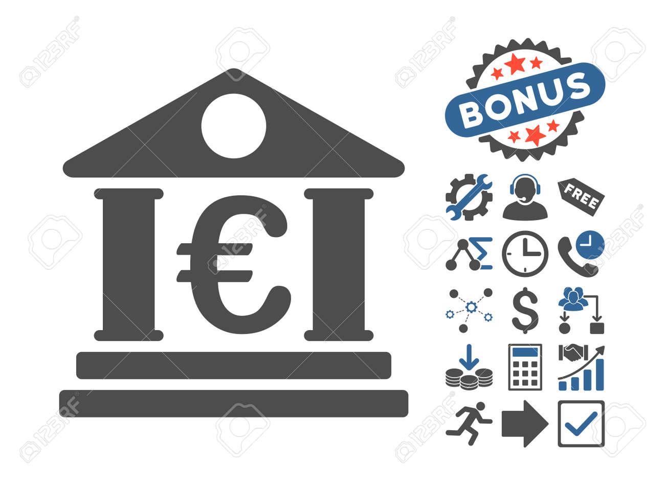 Euro bank building icon with bonus pictogram vector illustration euro bank building icon with bonus pictogram vector illustration style is flat iconic bicolor symbols biocorpaavc