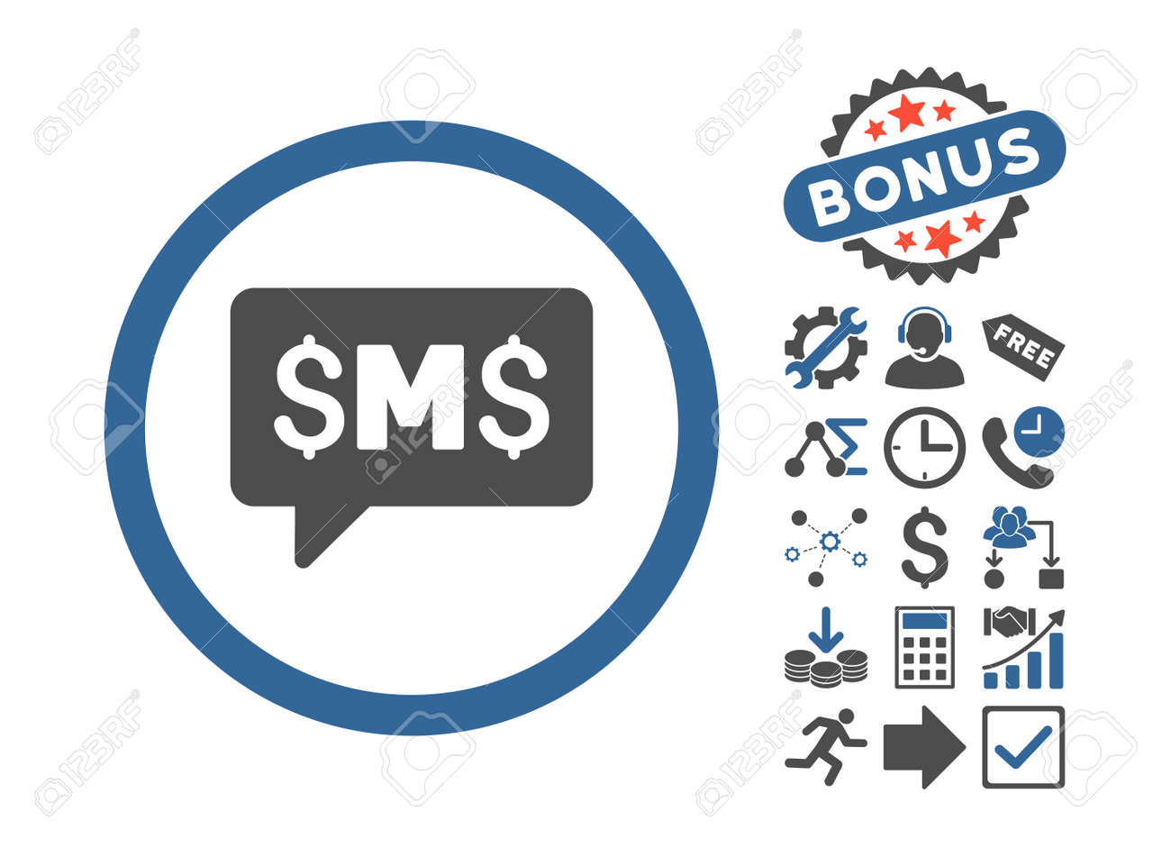 Sms message icon with bonus pictures vector illustration style sms message icon with bonus pictures vector illustration style is flat iconic bicolor symbols biocorpaavc Images