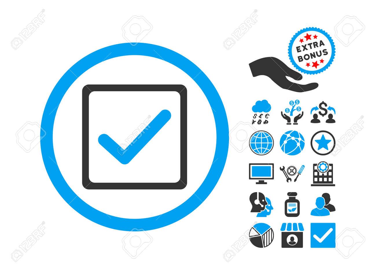 Checkbox icon with bonus elements vector illustration style checkbox icon with bonus elements vector illustration style is flat iconic bicolor symbols blue biocorpaavc Gallery