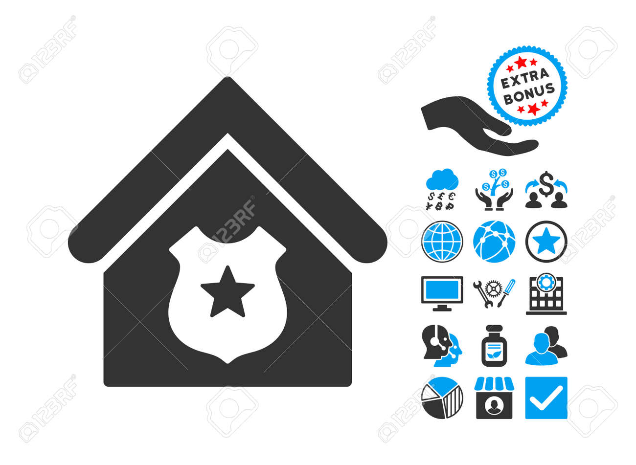 Police Office Pictograph With Bonus Pictogram Vector Illustration