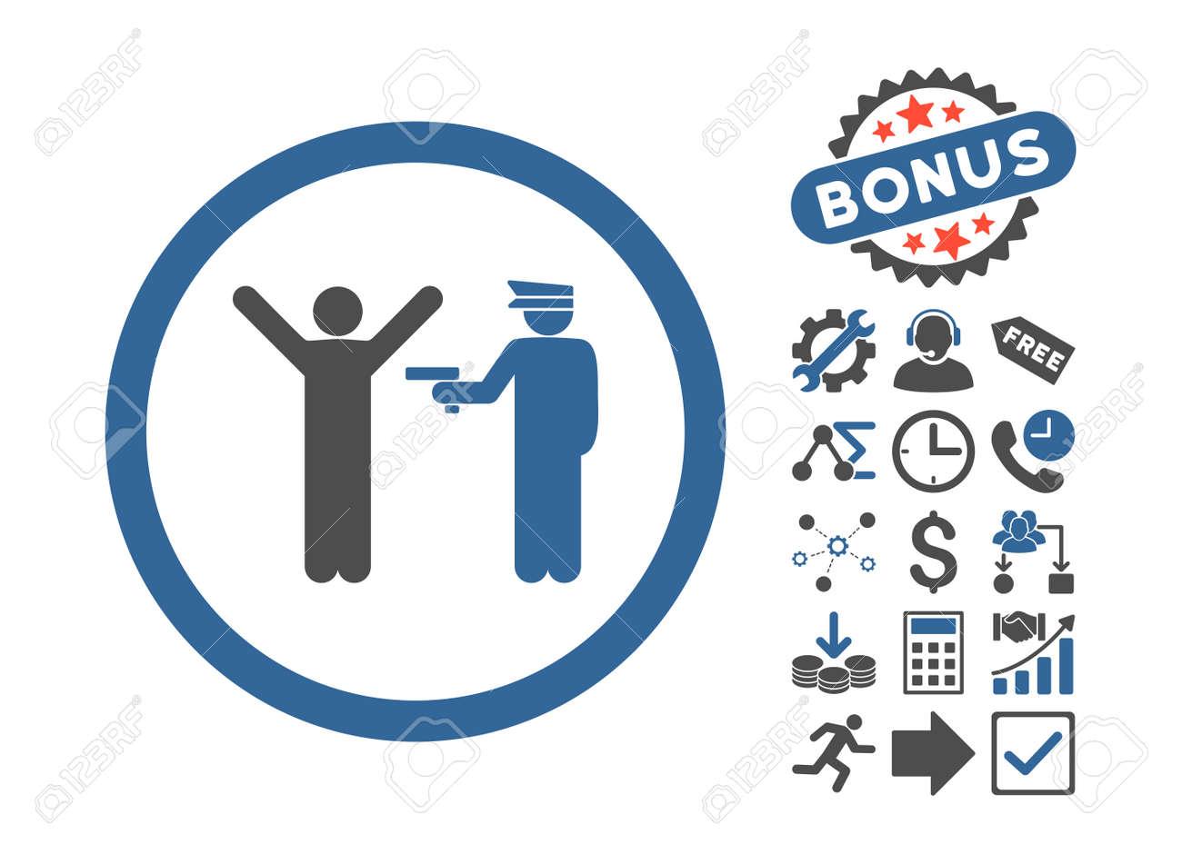 Police Arrest Icon With Bonus Pictogram Glyph Illustration Style