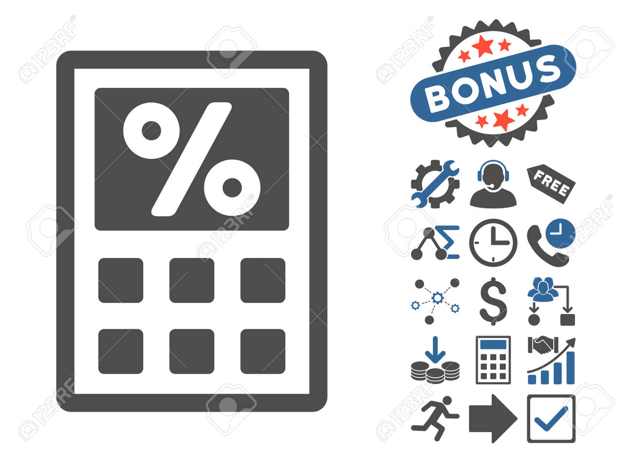 Tax calculator pictograph with bonus images. Glyph illustration.