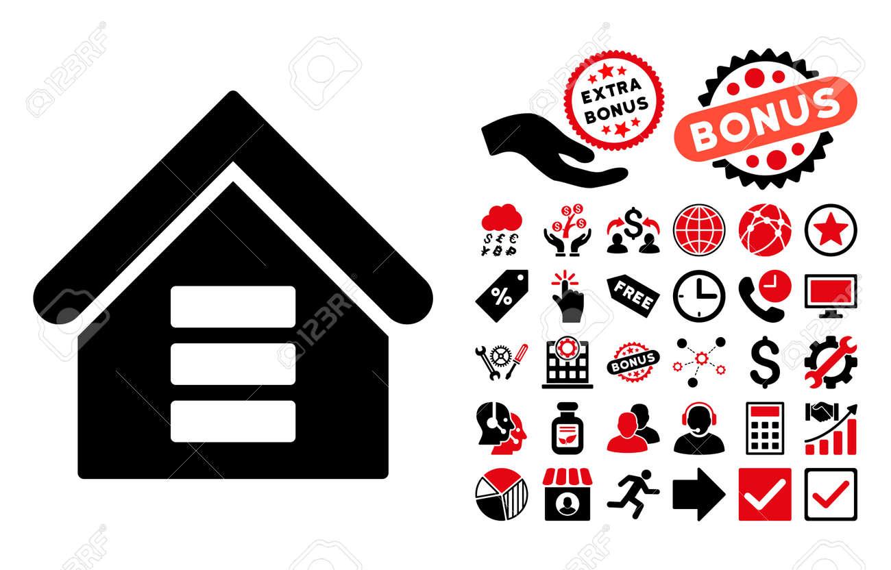 Data center building icon with bonus symbols vector illustration data center building icon with bonus symbols vector illustration style is flat iconic bicolor symbols biocorpaavc