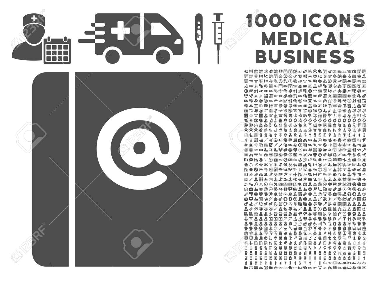 gray emails icon with 1000 medical business glyph design elements