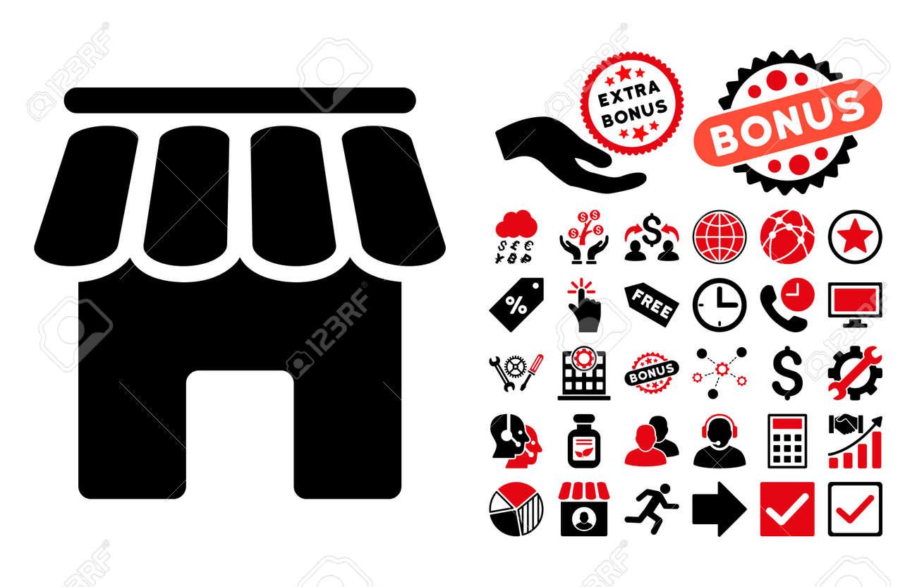 Shop building icon with bonus symbols glyph illustration style shop building icon with bonus symbols glyph illustration style is flat iconic bicolor symbols biocorpaavc Image collections