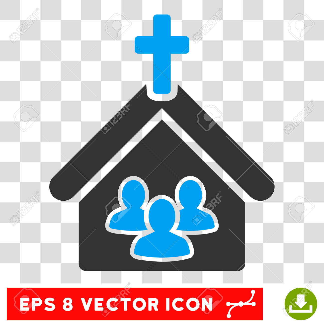 Vector Church EPS vector icon. Illustration style is flat iconic bicolor blue and gray symbol on a transparent background. - 63619149