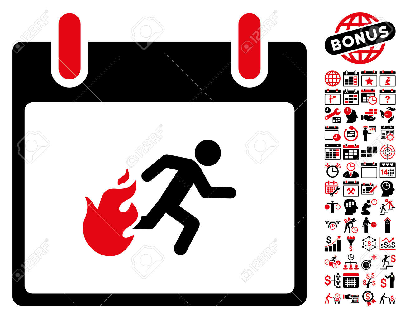 Fire Evacuation Man Calendar Day Pictograph With Bonus Calendar