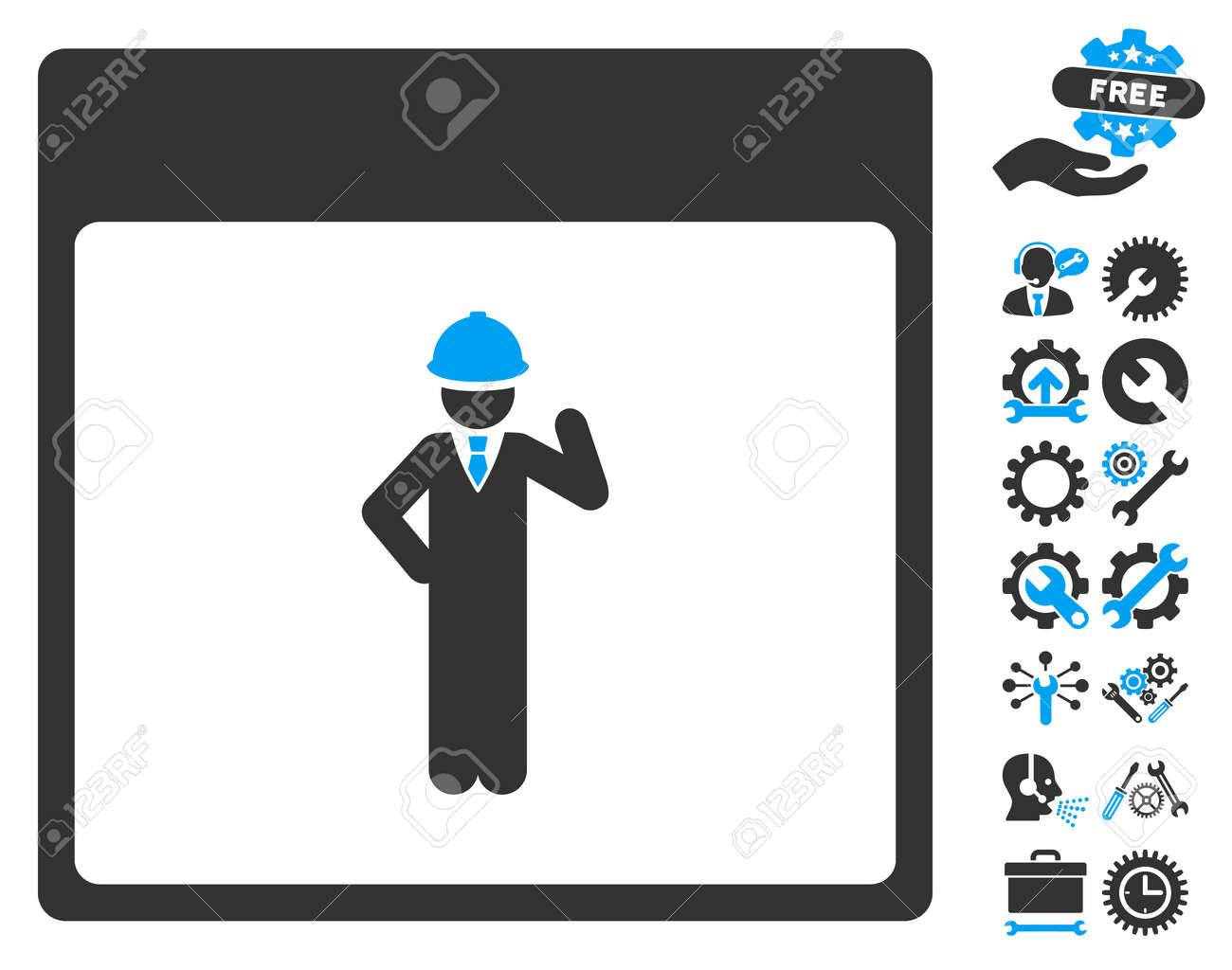 Engineer Calendar Page Icon With Bonus Service Symbols Vector