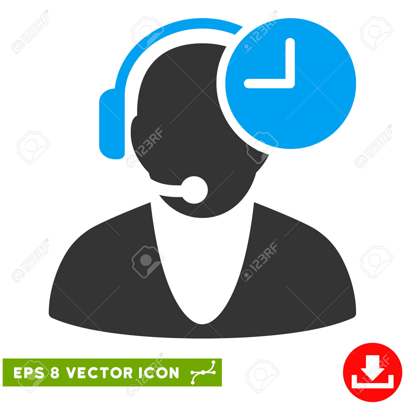 Operator time eps vector pictograph illustration style is flat operator time eps vector pictograph illustration style is flat iconic bicolor blue and gray symbol buycottarizona
