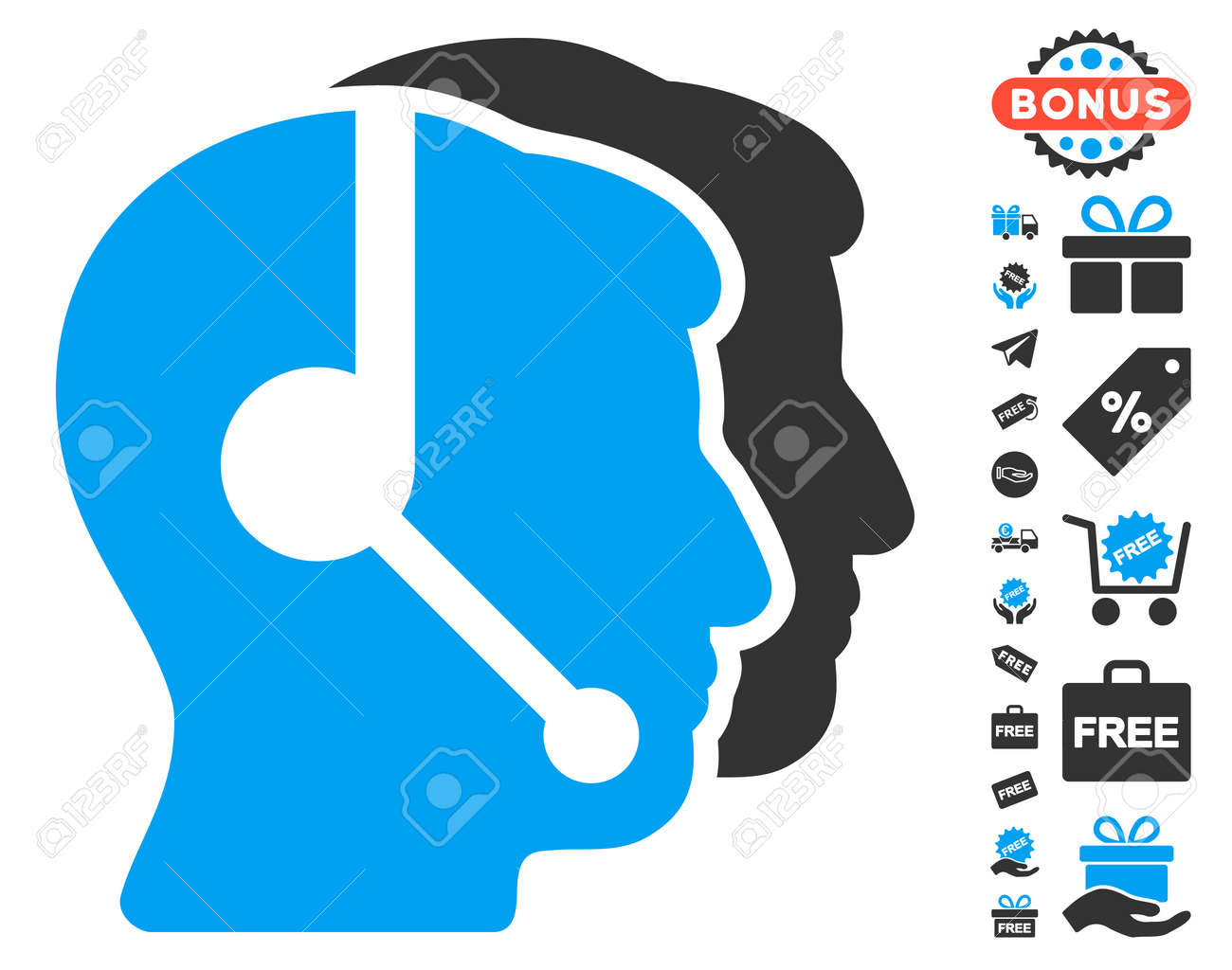 Call center operators pictograph with free bonus symbols vector call center operators pictograph with free bonus symbols vector illustration style is flat iconic symbols biocorpaavc Images