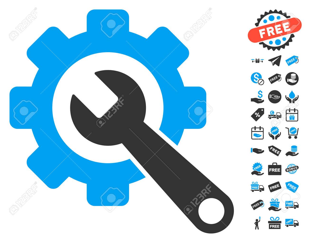Gear and wrench icon with free bonus symbols vector illustration gear and wrench icon with free bonus symbols vector illustration style is flat iconic symbols biocorpaavc Images