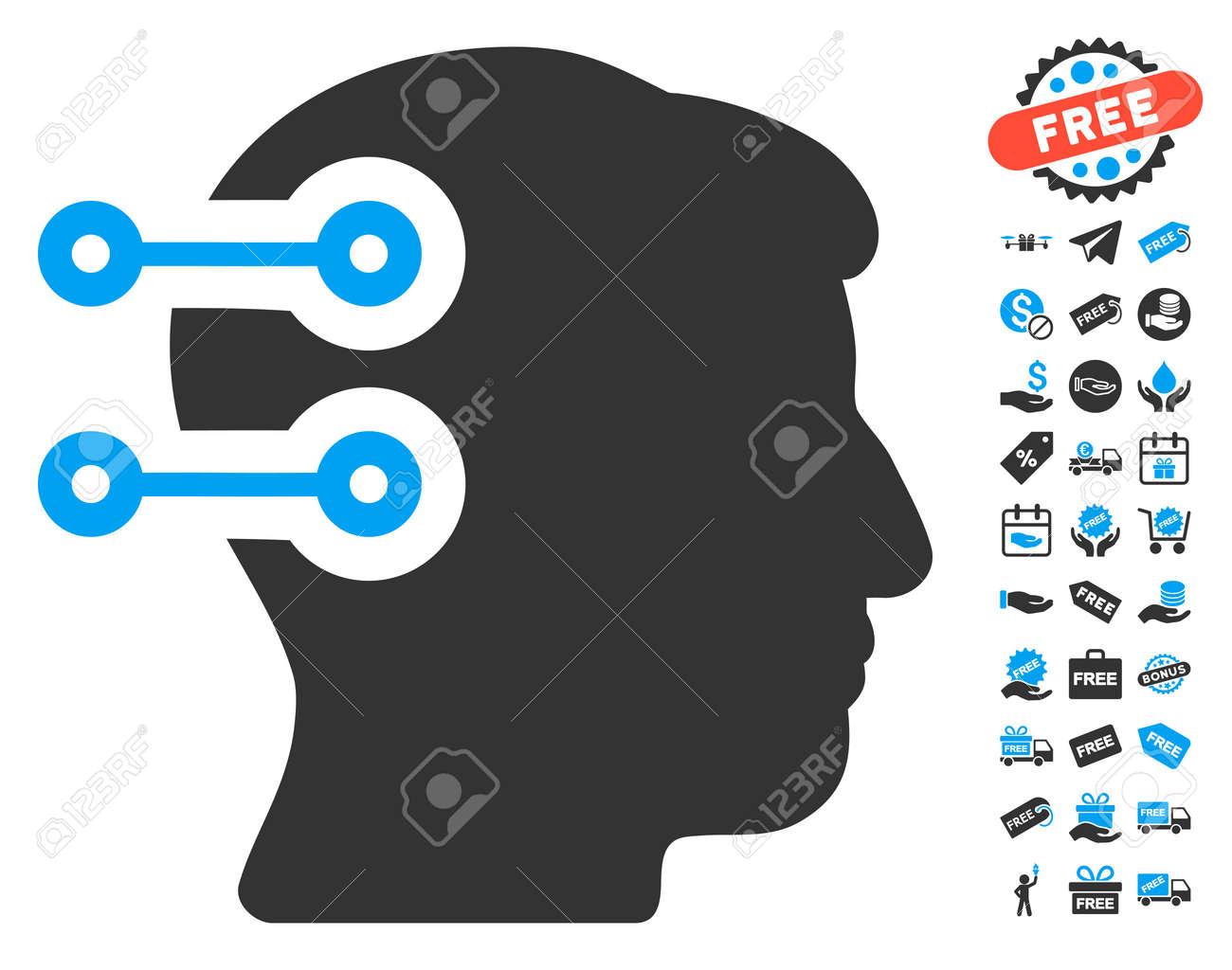 Head Connectors Icon With Free Bonus Pictograms Vector Illustration