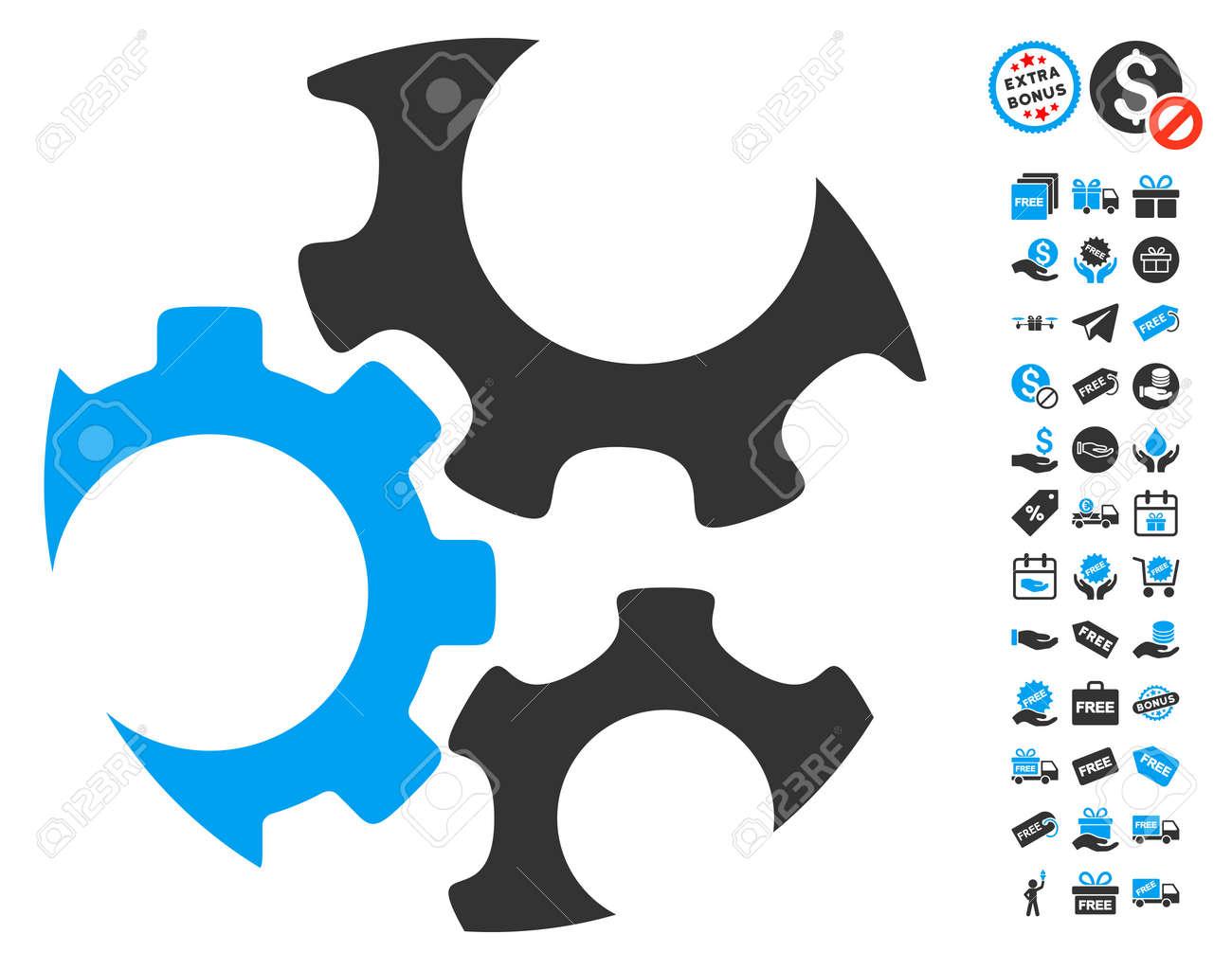 Mechanics gears icon with free bonus symbols vector illustration mechanics gears icon with free bonus symbols vector illustration style is flat iconic symbols biocorpaavc Images