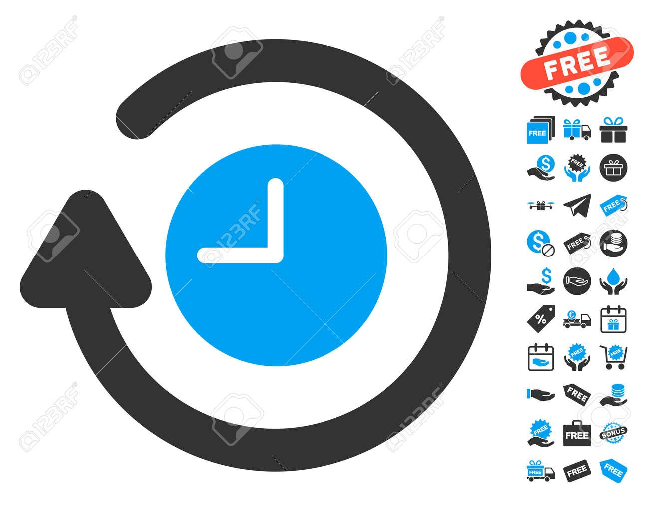 Repeat clock icon with free bonus symbols vector illustration repeat clock icon with free bonus symbols vector illustration style is flat iconic symbols biocorpaavc Images