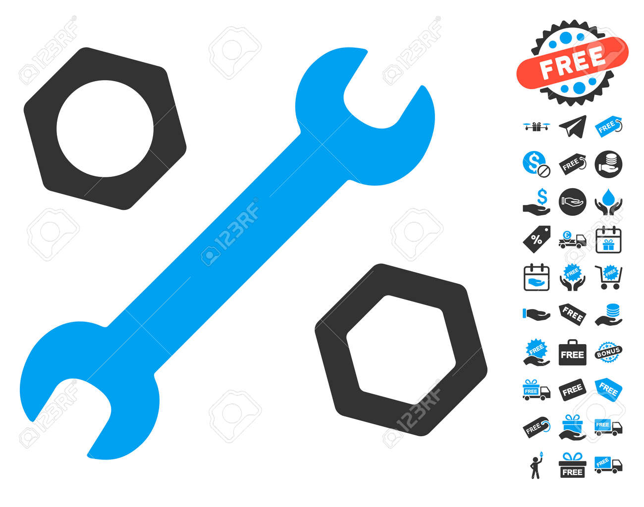 Wrench And Nuts Icon With Free Bonus Symbols Vector Illustration