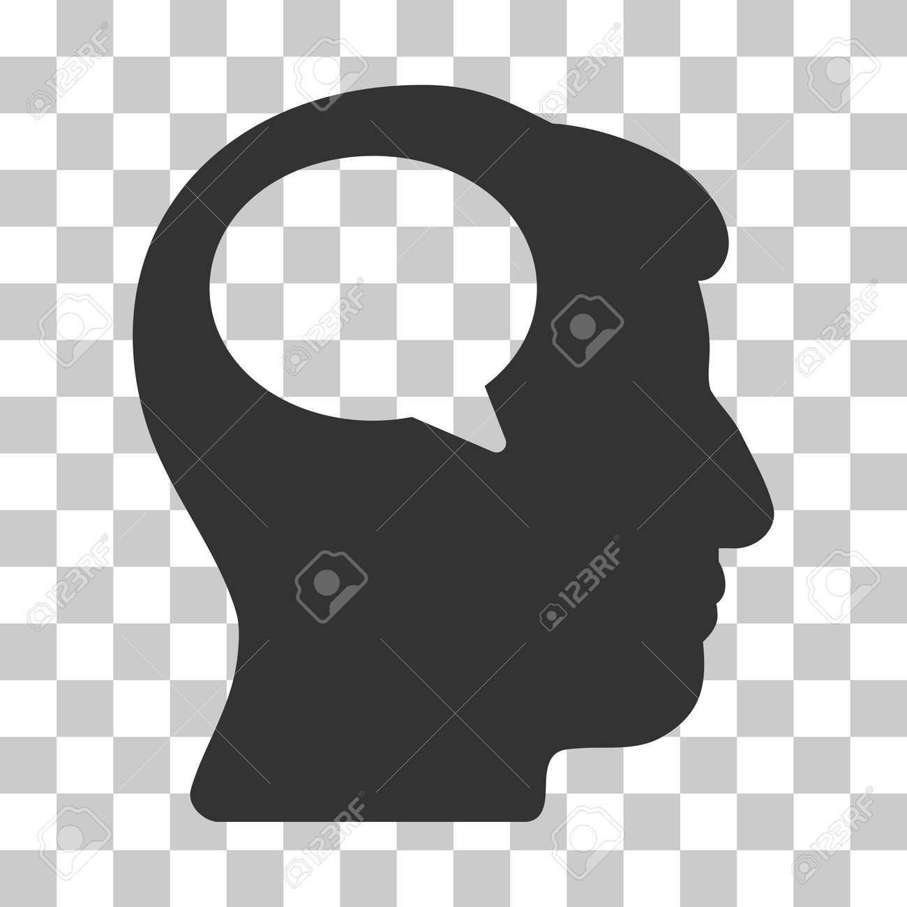 gray person thinking interface icon vector pictogram style is