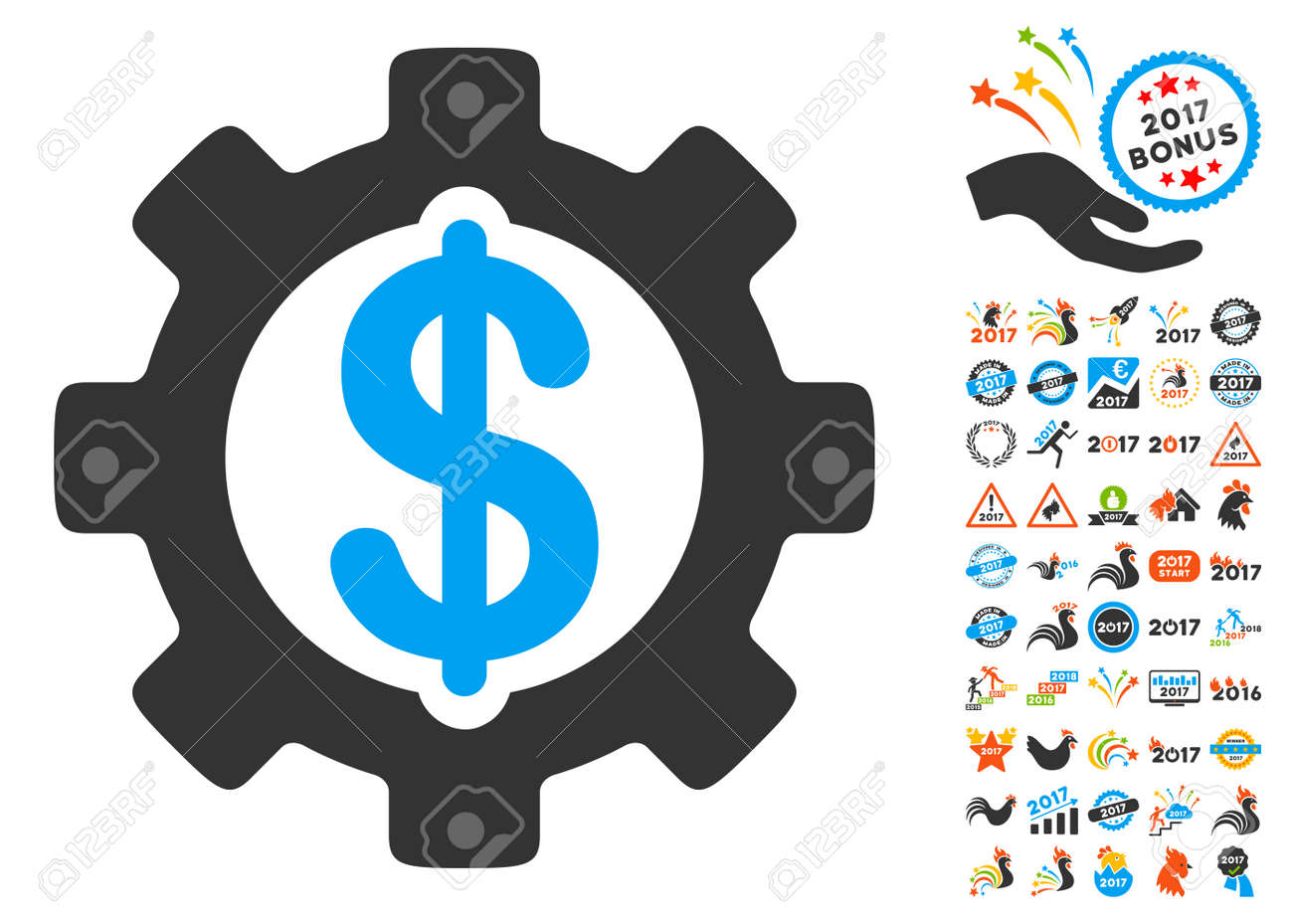 development cost icon with bonus 2017 new year clip art vector illustration style is flat
