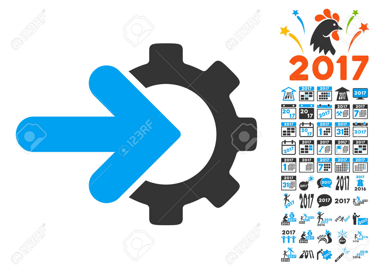 gear integration icon with bonus 2017 new year clip art vector illustration style is flat