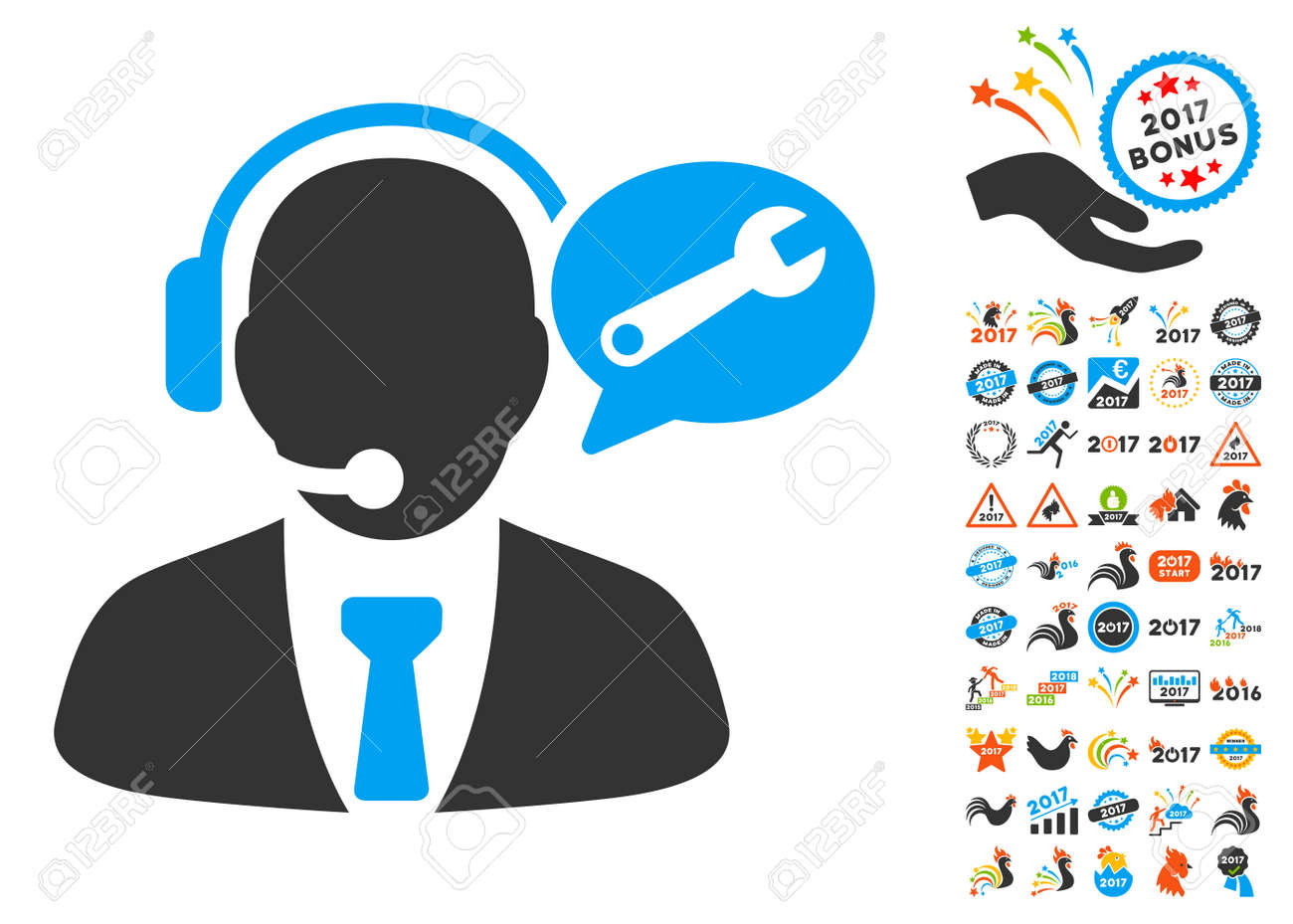 service manager message icon with bonus 2017 new year clip art vector illustration style is