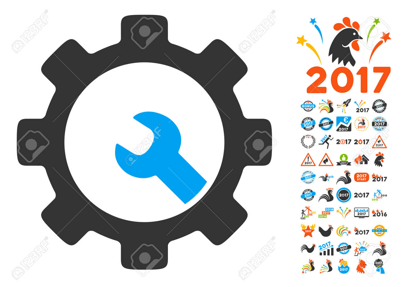 Service Tools Pictograph With Bonus 2017 New Year Clip Art Vector