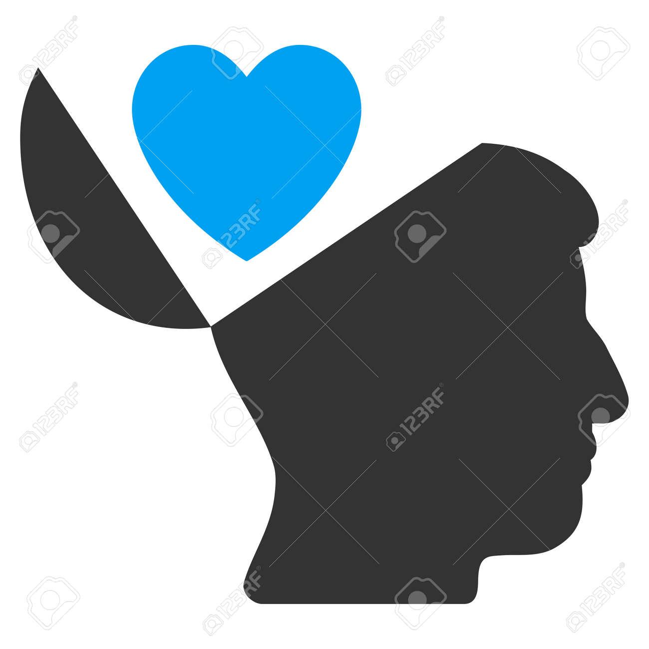 Open mind love heart glyph pictogram style is flat graphic open mind love heart glyph pictogram style is flat graphic bicolor symbol blue and buycottarizona Gallery