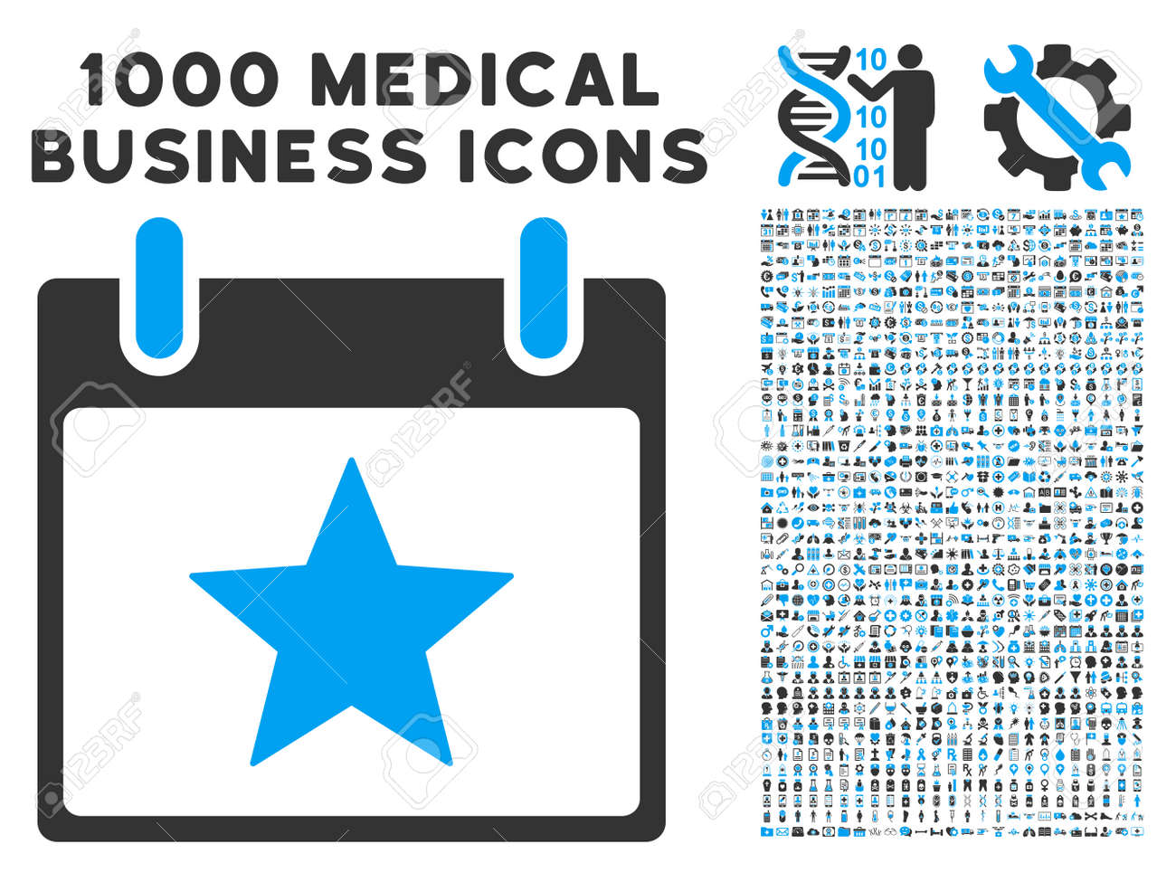 blue and gray star calendar day glyph icon with 1000 medical stock