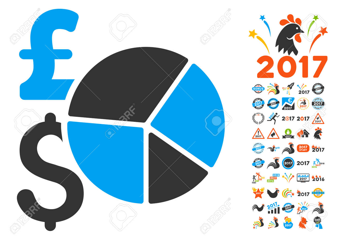 Pound And Dollar Pie Chart Pictograph With Bonus 2017 New Year ...