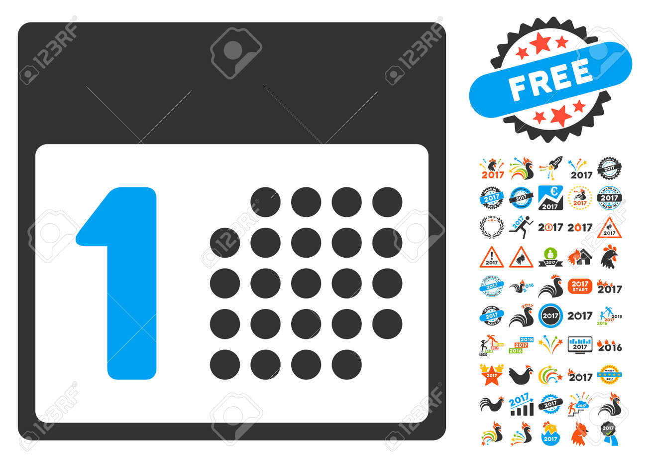first day pictograph with bonus 2017 new year graphic icons vector illustration style is flat